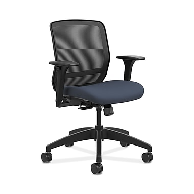 HON® Quotient™ Mesh Back Task Chair, Adjustable Arms, Black Mesh/Cerulean Fabric