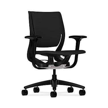 HON Purpose Mid-Back Chair, YouFit Flex Motion, Adjustable Arms, Onyx Shell, Black Base, Black Fabric