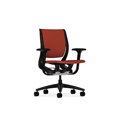 HON Purpose Mid-Back Chair, YouFit Flex Motion, Adjustable Arms, Onyx Shell, Black Base, Poppy Fabric