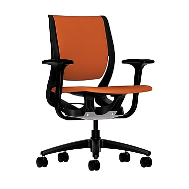 HON Purpose Mid-Back Chair, YouFit Flex Motion, Adjustable Arms, Onyx Shell, Black Base, Tangerine Fabric