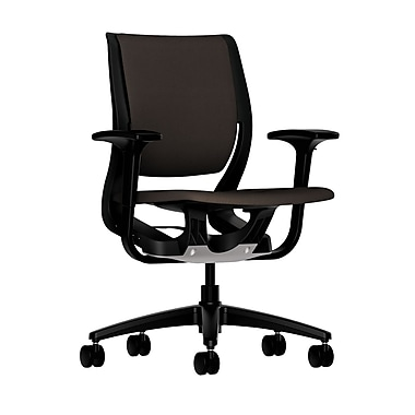 HON Purpose Mid-Back Chair, YouFit Flex Motion, Adjustable Arms, Onyx Shell, Black Base, Espresso Fabric