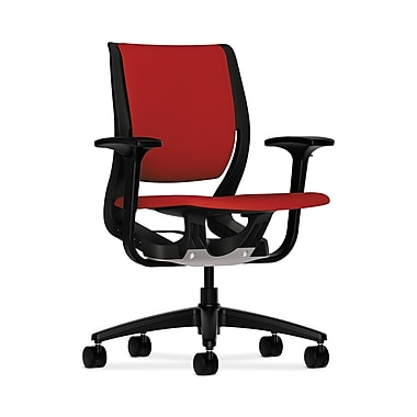 HON® Purpose Mid-Back Chair, YouFit Flex Motion, Adjustable Arms, Onyx Shell, Black Base, Tomato Fabric