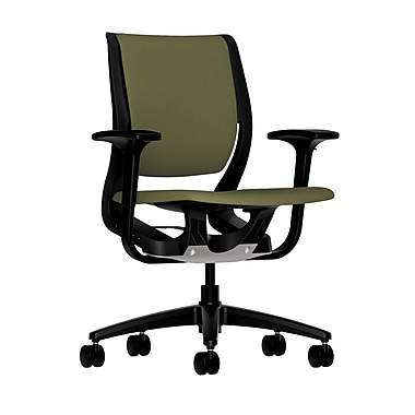 HON Purpose Mid-Back Chair, YouFit Flex Motion, Adjustable Arms, Onyx Shell, Black Base, Olivine Fabric