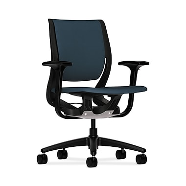 HON Purpose Mid-Back Chair, YouFit Flex Motion, Adjustable Arms, Onyx Shell, Black Base, Cerulean Fabric