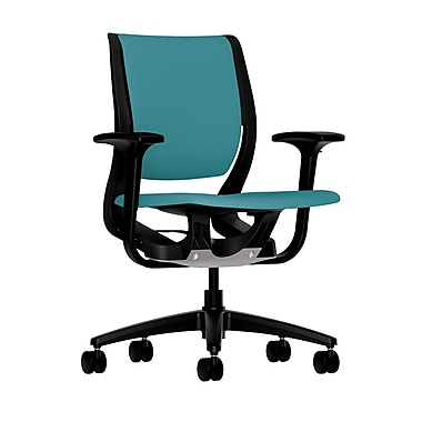 HON Purpose Mid-Back Chair, YouFit Flex Motion, Adjustable Arms, Onyx Shell, Black Base, Glacier Fabric