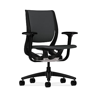 HON® Purpose Mid-Back Chair, YouFit Flex Motion, Adjustable Arms, Onyx Shell, Black Base, Carbon Fabric