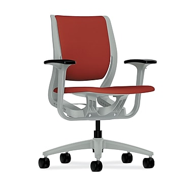 HON Purpose Mid-Back Chair, YouFit Flex Motion, Adjustable Arms, Platinum Shell, Platinum Base, Poppy Fabric