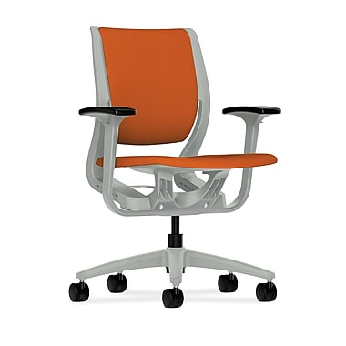 HON Purpose Mid-Back Chair, YouFit Flex Motion, Adjustable Arms, Platinum Shell, Platinum Base, Tangerine Fabric