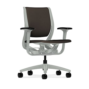 HON Purpose Mid-Back Chair, YouFit Flex Motion, Adjustable Arms, Platinum Shell, Platinum Base, Espresso Fabric