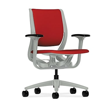 HON® Purpose Mid-Back Chair, YouFit Flex Motion, Adjustable Arms, Platinum Shell, Platinum Base, Tomato Fabric