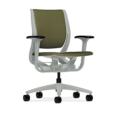 HON Purpose Mid-Back Chair, YouFit Flex Motion, Adjustable Arms, Platinum Shell, Platinum Base, Olivine Fabric
