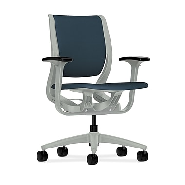 HON Purpose Mid-Back Chair, YouFit Flex Motion, Adjustable Arms, Platinum Shell, Platinum Base, Cerulean Fabric