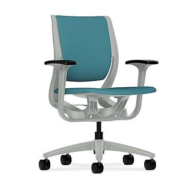HON Purpose Mid-Back Chair, YouFit Flex Motion, Adjustable Arms, Platinum Shell, Platinum Base, Glacier Fabric