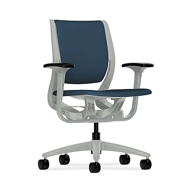 HON® Purpose Mid-Back Chair, YouFit Flex Motion, Adjustable Arms, Platinum Shell, Platinum Base, Jet Fabric