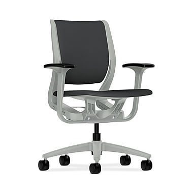 HON® Purpose Mid-Back Chair, YouFit Flex Motion, Adjustable Arms, Platinum Shell, Platinum Base, Carbon Fabric