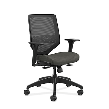 HON® Solve™ Mid-Back Mesh Task Chair, Adjustable Arms, Ink