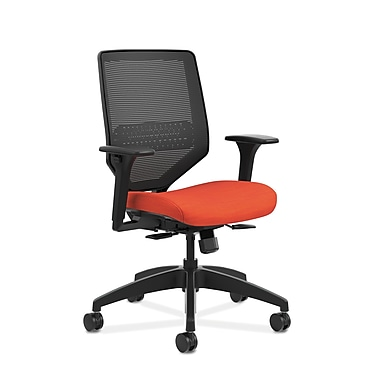 HON® Solve™ Mid-Back Mesh Task Chair, Adjustable Arms, Bittersweet