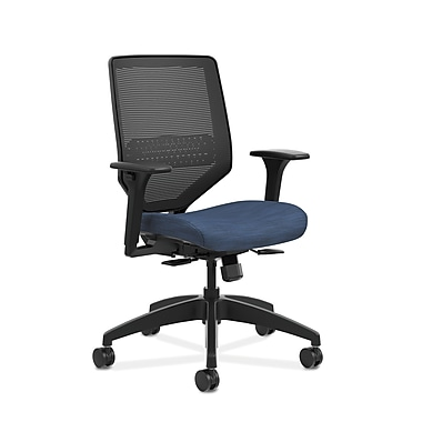 HON® Solve™ Mid-Back Mesh Task Chair, Adjustable Arms, Midnight