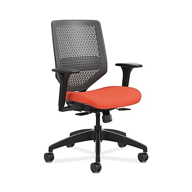 HON® Solve™ Mid-Back ReActiv™ Task Chair, Adjustable Arms, Charcoal/Bittersweet