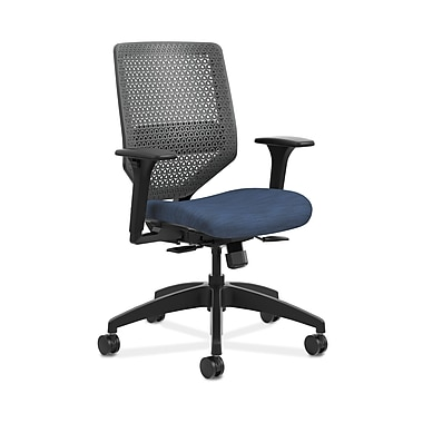 HON® Solve™ Mid-Back ReActiv™ Task Chair, Adjustable Arms, Charcoal/Midnight
