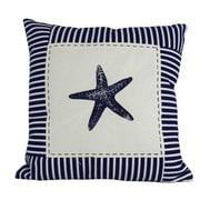 Handcrafted Nautical Decor Starfish Nautical Stripes Decorative Throw Pillow