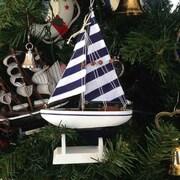 Handcrafted Nautical Decor Christmas Tree Ornament; Blue