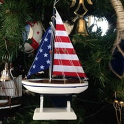 Handcrafted Nautical Decor USA Flag Sailboat Model Christmas Tree Ornament