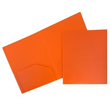 JAM PaperMD – Chemise de présentation robuste en plastique à deux pochettes, orange, paquet de 12