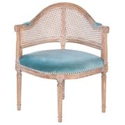 Joseph Allen Fae French Antique Cane and Velvet Barrel Chair