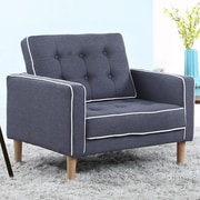 Madison Home USA Mid Century Modern Fabric Living Room Armchair; Dark Gray