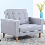 Madison Home USA Mid Century Modern Fabric Living Room Armchair; Light Gray