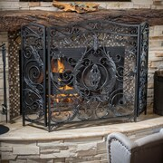 Home Loft Concepts Hayward 3 Panel Iron Fireplace Screen; Black