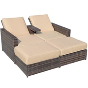 Aosom Outsunny Double Chaise Lounge with Cushion