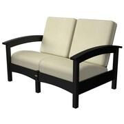 Trex Rockport Club Deep Seating Sofa w/ Cushions; Charcoal Black / Bird's Eye