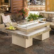 The Outdoor GreatRoom Company Uptown Crystal Fire Pit Table w/ Tile Top and Burner; Brown