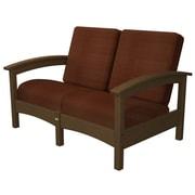 Trex Rockport Club Deep Seating Sofa w/ Cushions; Tree House / Chili