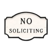 Montague Metal Products Petite Montague No Soliciting Statement Plaque Sign; White/Black
