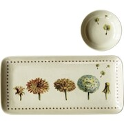 Creative Co-Op 2 Piece Stoneware Tray and Round Dish Set