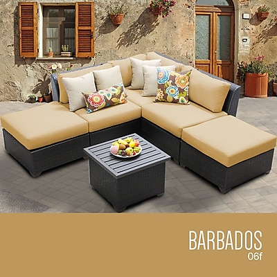 TK Classics Barbados 6 Piece Deep Seating Group w/ Cushion; Sesame WYF078279296302