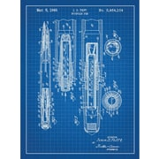 Inked and Screened Vintage Inventions 'Fountain Pen 1949' Graphic Art in Blue Grid/White Ink