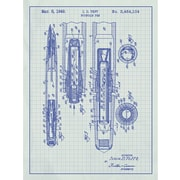 Inked and Screened Vintage Inventions 'Fountain Pen 1949' Graphic Art in White Grid/Blue Ink
