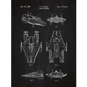 Inked and Screened Sci-Fi and Fantasy 'Star Wars Vehicles: A' Graphic Art in Chalkboard/White Ink
