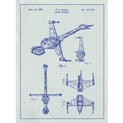 Inked and Screened Sci-Fi and Fantasy 'Star Wars Vehicles: B' Graphic Art in White Grid/Blue Ink