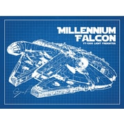 Inked and Screened Sci-Fi and Fantasy 'Millennium Falcon' Graphic Art in Blue Grid/White Ink