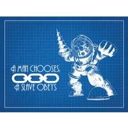 Inked and Screened Gaming 'BioShock' Silk Screen Print Graphic Art in Blue Grid/White Ink