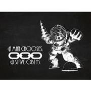 Inked and Screened Gaming 'BioShock ' Silk Screen Print Graphic Art in Chalkboard/White Ink
