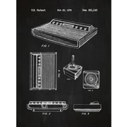 Inked and Screened Gaming 'Patent Prints ' Silk Screen Print Graphic Art in Chalkboard/White Ink