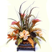 Floral Home Decor Sunflower, Calla Lily Peony and Orchid Silk Flower Centerpiece w/ Feathers