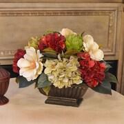 Floral Home Decor Hydrangea and Magnolia Centerpiece w/ Artichokes