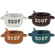 Kovot 8 Piece 22 oz. Speckled Ceramic Soup Bowl w/ Spoon Set (Set of 4)